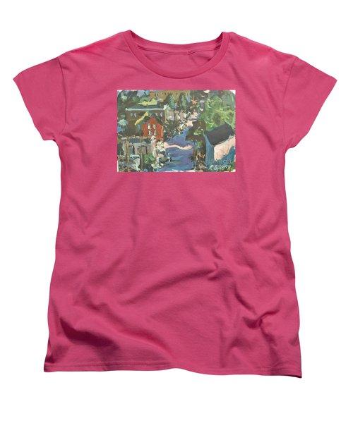 Women's T-Shirt (Standard Cut) featuring the painting Original Contemporary Urban Painting Featuring Richmond Virginia by Robert Joyner
