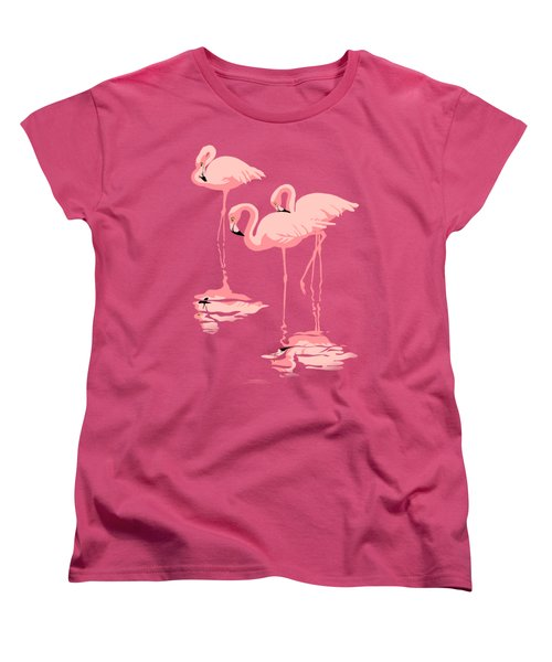 3 Pink Flamingos Abstract Pop Art Nouveau Graphic Art Retro Stylized Florida Women's T-Shirt (Standard Cut) by Walt Curlee