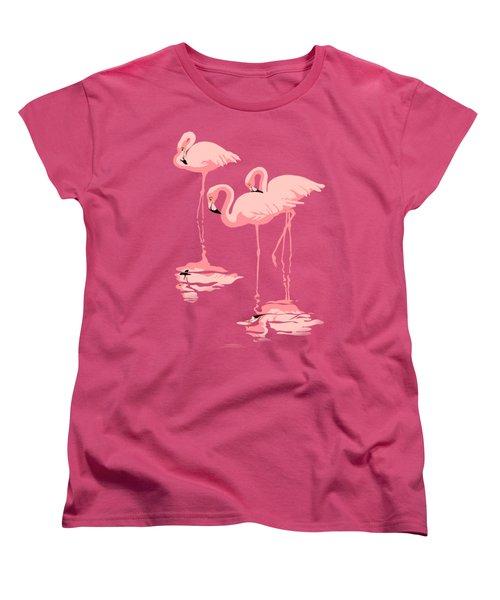 3 Pink Flamingos Abstract Pop Art Nouveau Graphic Art Retro Stylized Florida Women's T-Shirt (Standard Cut)