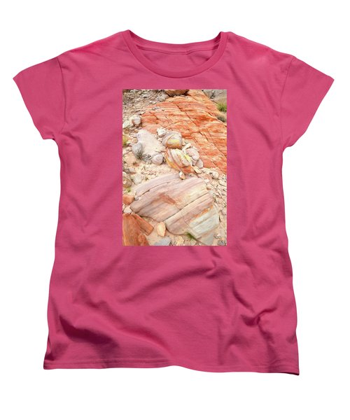 Women's T-Shirt (Standard Cut) featuring the photograph Multicolored Sandstone In Valley Of Fire by Ray Mathis