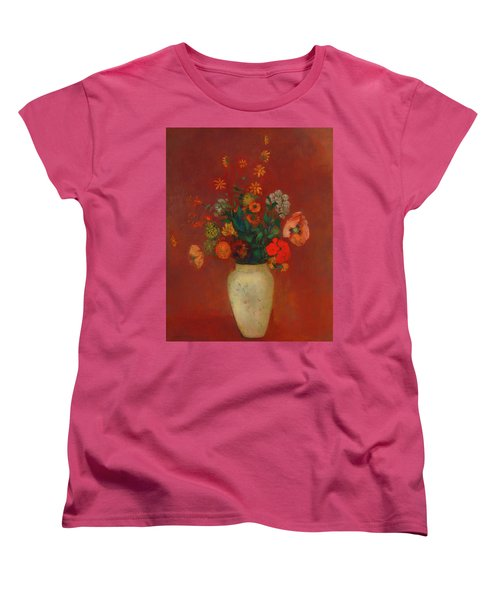 Women's T-Shirt (Standard Cut) featuring the painting Bouquet In A Chinese Vase by Odilon Redon