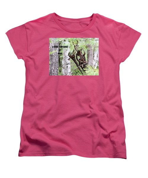Women's T-Shirt (Standard Cut) featuring the photograph 4-ever Tortured By Man by Debbie Stahre