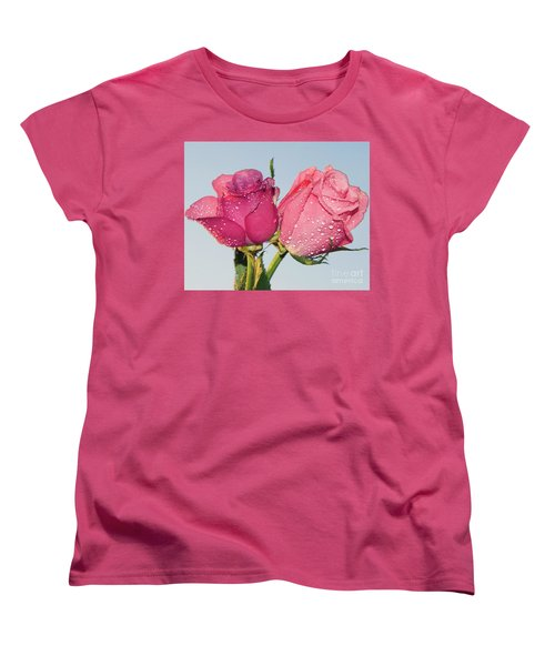 Two Roses Women's T-Shirt (Standard Cut) by Elvira Ladocki