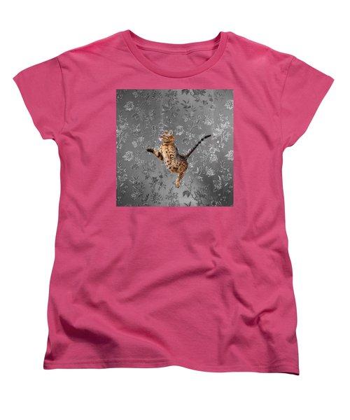 Bengal Cat Jumping Women's T-Shirt (Standard Cut)