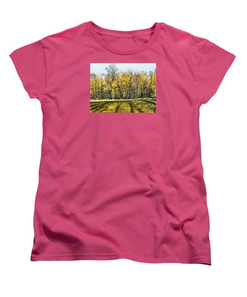 Watercolor Landscape Autumn Painting Forest Women's T-Shirt (Standard Cut) by Odon Czintos