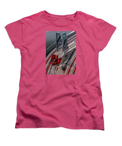 Women's T-Shirt (Standard Cut) featuring the photograph 53 Pontiac Chieftan Hood Ornament by Trey Foerster