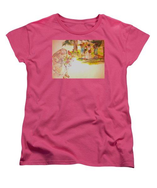 Women's T-Shirt (Standard Cut) featuring the painting The Wedding Album  by Debbi Saccomanno Chan