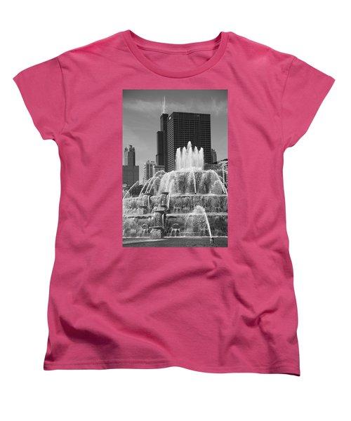 Chicago Skyline And Buckingham Fountain Women's T-Shirt (Standard Cut) by Frank Romeo