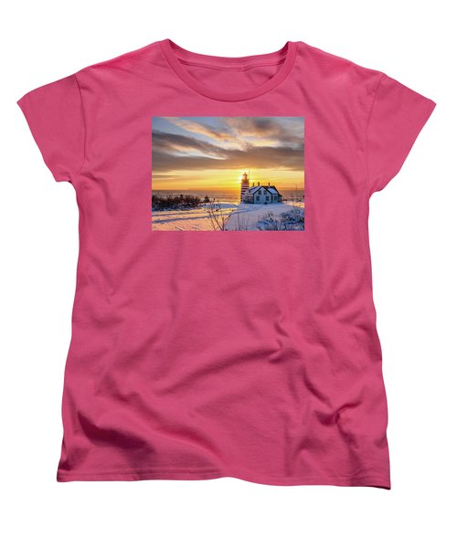 Women's T-Shirt (Standard Cut) featuring the photograph West Quoddy Head Lighthouse by Trace Kittrell