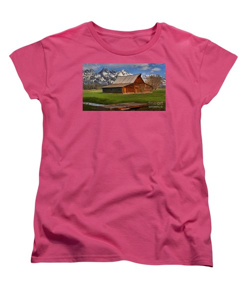 A Barn In The Tetons Women's T-Shirt (Standard Cut) by Adam Jewell