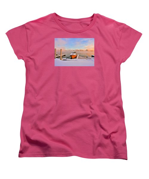 Boat On Frozen Lake Women's T-Shirt (Standard Cut) by Rose-Maries Pictures