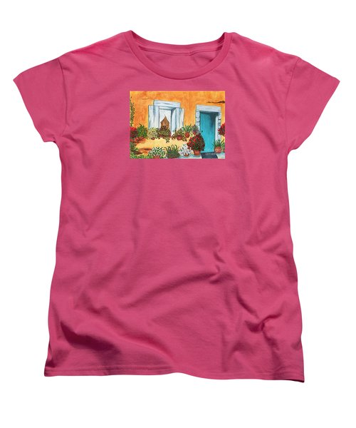Women's T-Shirt (Standard Cut) featuring the painting A Cottage In The Village by Patricia Griffin Brett