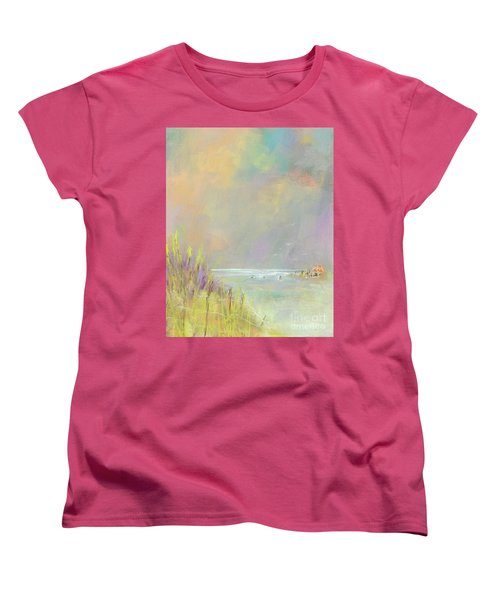 Women's T-Shirt (Standard Cut) featuring the painting A Day At The Beach by Frances Marino