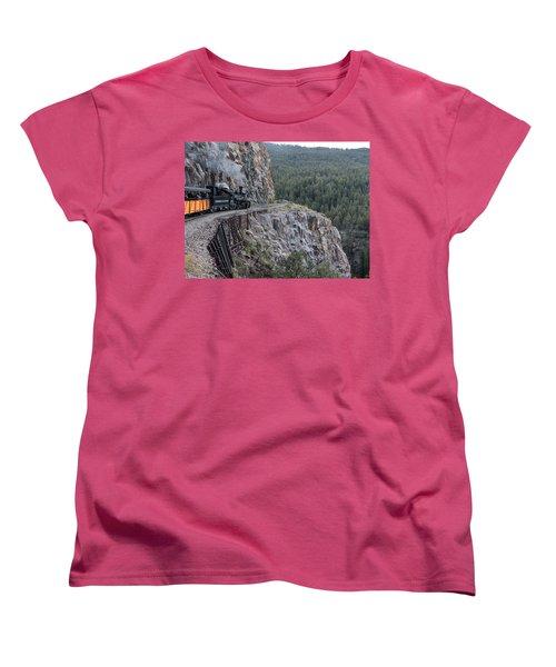 A Durango And Silverton Narrow Gauge Scenic Railroad Train Along A San Juan Mountains Precipice Women's T-Shirt (Standard Cut) by Carol M Highsmith