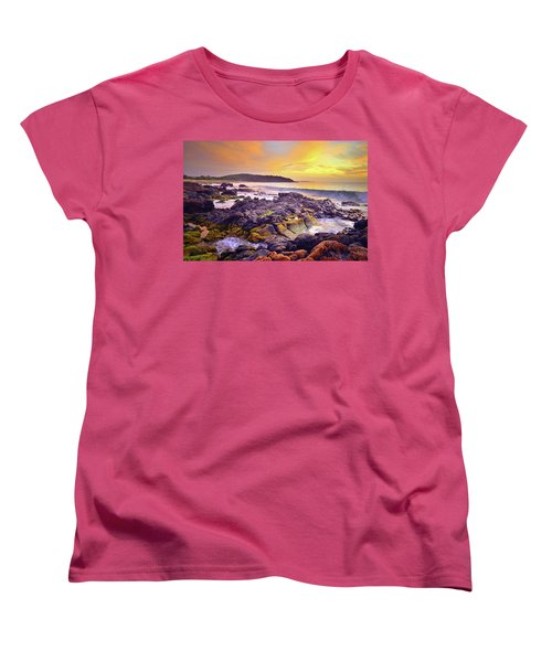 Women's T-Shirt (Standard Cut) featuring the photograph A Gentle Wave At Sunset by Tara Turner