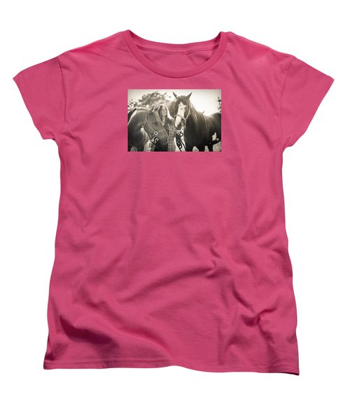 A Girl And Horses In The Sun Sepia Women's T-Shirt (Standard Cut) by Kelly Hazel