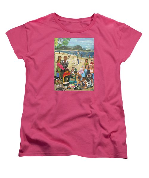 Women's T-Shirt (Standard Cut) featuring the painting A Heavenly Day - Lumley Beach - Sierra Leone by Mudiama Kammoh