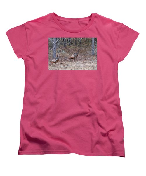 Women's T-Shirt (Standard Cut) featuring the photograph A Pair Of Turkeys 1152 by Michael Peychich