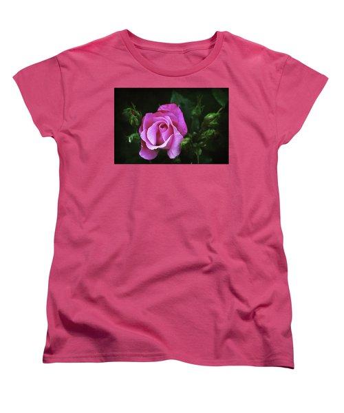 A Pink Rose Women's T-Shirt (Standard Cut) by Trina Ansel