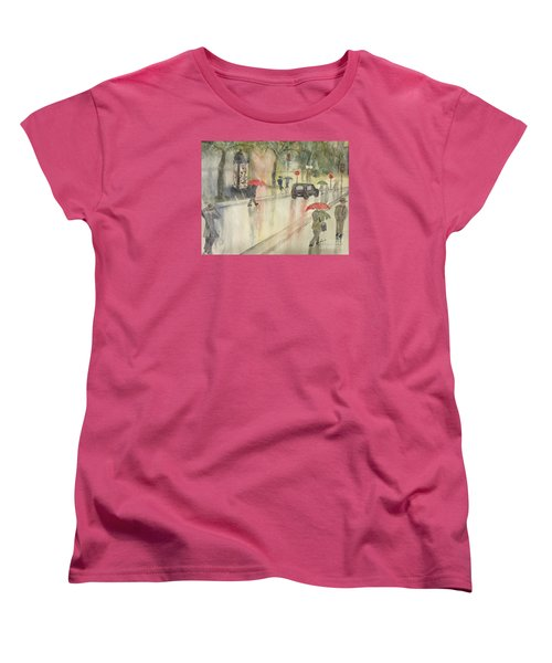 A Rainy Streetscene  Women's T-Shirt (Standard Cut) by Lucia Grilletto