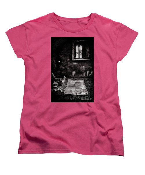 Women's T-Shirt (Standard Cut) featuring the photograph A Tombstone In Sligo Abbey Bw by RicardMN Photography