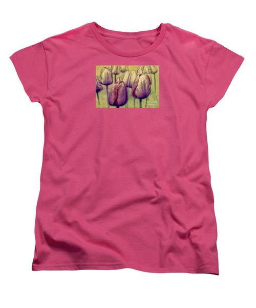 A Tulip Affair Women's T-Shirt (Standard Cut) by Jean OKeeffe Macro Abundance Art
