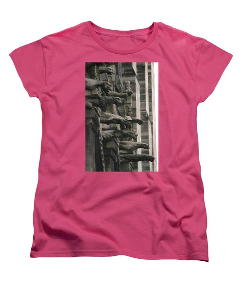 A Wall Of Gargoyles Notre Dame Cathedral Women's T-Shirt (Standard Cut) by Christopher Kirby