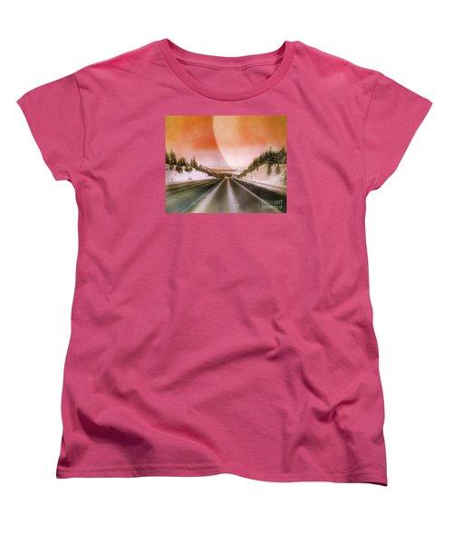 A December Drive 3 - Digital Artwork Women's T-Shirt (Standard Cut) by Janie Johnson