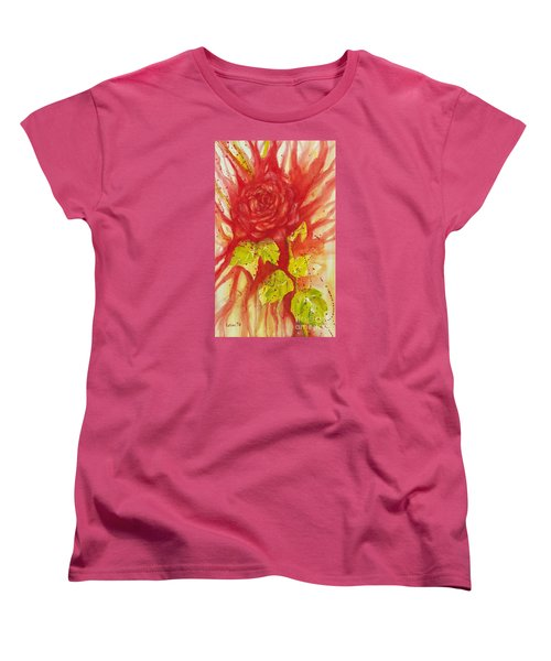 Women's T-Shirt (Standard Cut) featuring the painting A Wounded Rose by Kathleen Pio