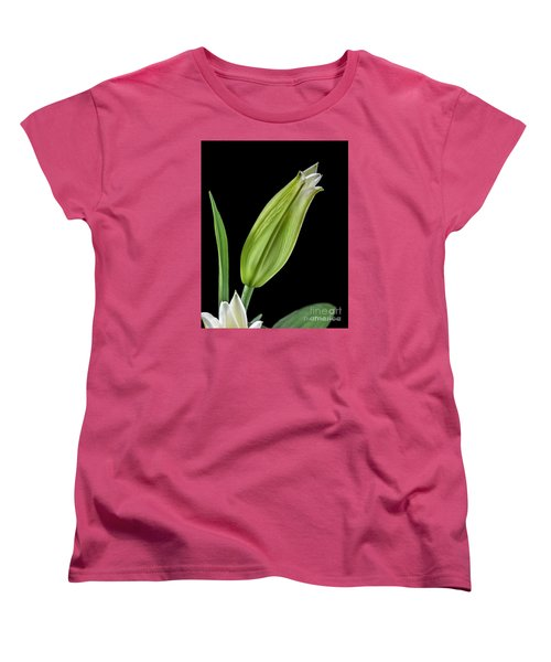 White Oriental Lily About To Bloom Women's T-Shirt (Standard Cut) by David Perry Lawrence
