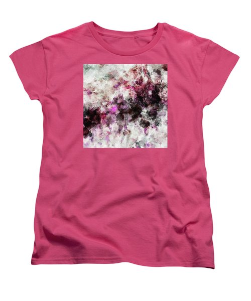 Women's T-Shirt (Standard Cut) featuring the painting Abstract Landscape Painting In Purple And Pink Tones by Ayse Deniz