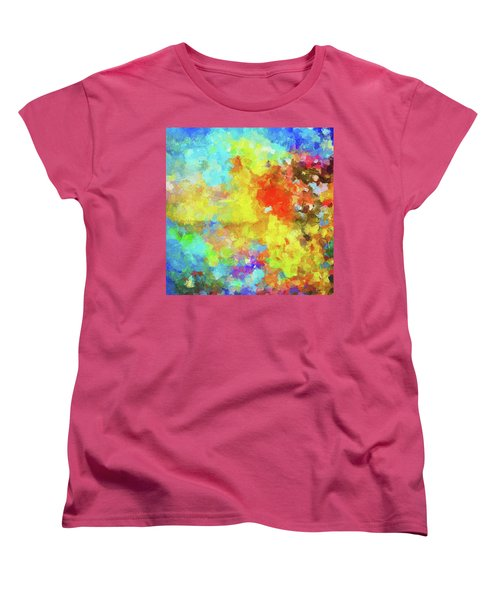 Women's T-Shirt (Standard Cut) featuring the painting Abstract Seascape Painting With Vivid Colors by Ayse Deniz