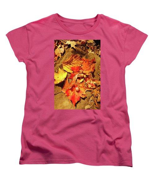 Women's T-Shirt (Standard Cut) featuring the photograph Acorns Fall Maple Leaf by Meta Gatschenberger