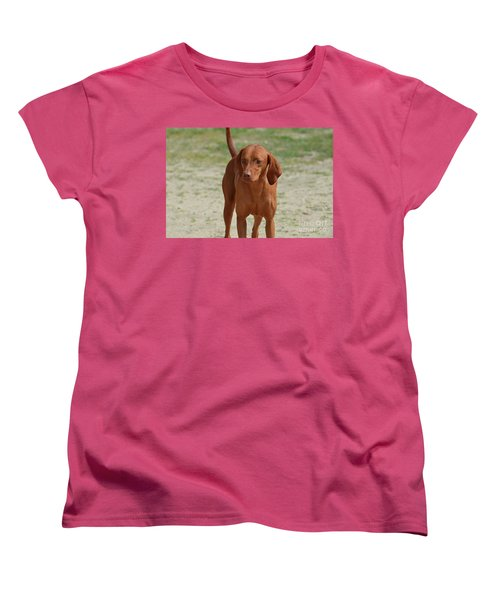 Adorable Redbone Coonhound Standing Alone Women's T-Shirt (Standard Cut) by DejaVu Designs
