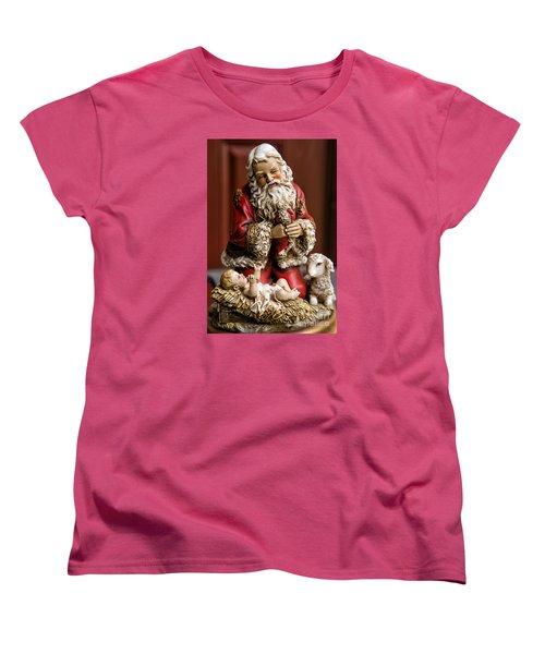 Adoring Santa Women's T-Shirt (Standard Cut) by Bonnie Barry
