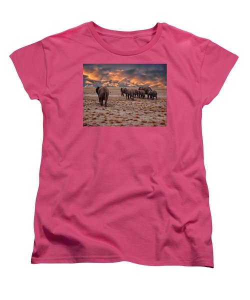 African Elephants Women's T-Shirt (Standard Cut) by Anthony Dezenzio