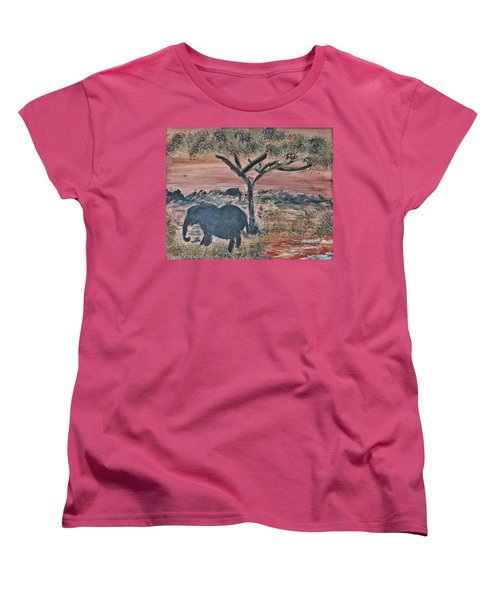 Women's T-Shirt (Standard Cut) featuring the painting African Landscape With Elephant And Banya Tree At Watering Hole With Mountain And Sunset Grasses Shr by MendyZ