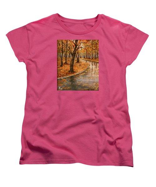 After Rain,walk In The Central Park Women's T-Shirt (Standard Cut) by Vali Irina Ciobanu