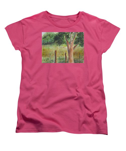 Women's T-Shirt (Standard Cut) featuring the painting Afternoon Chat by Vicki  Housel