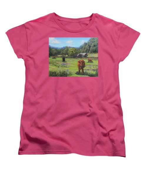 Women's T-Shirt (Standard Cut) featuring the painting Afternoon Snack by Karen Ilari