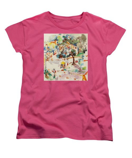 Women's T-Shirt (Standard Cut) featuring the painting Alamo From Hotel Window by Becky Kim