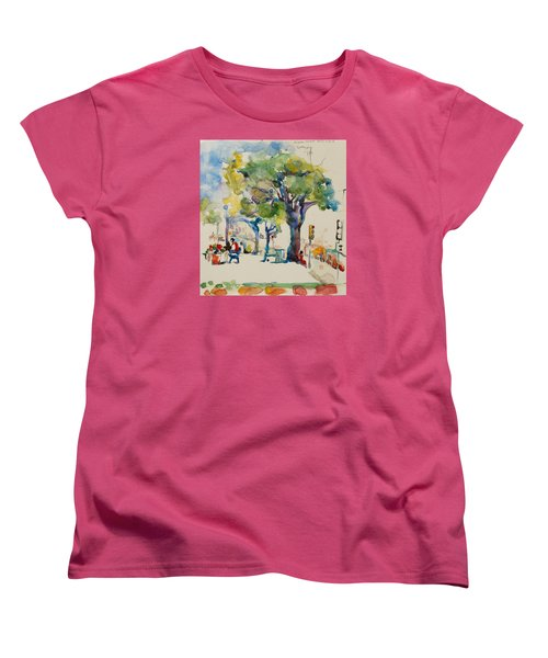 Women's T-Shirt (Standard Cut) featuring the painting Alamo Plaza by Becky Kim