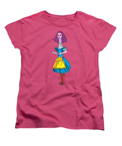 Alice In Wonderland - Ask Alice - Psychedelic Alice Women's T-Shirt (Standard Cut) by Paul Telling