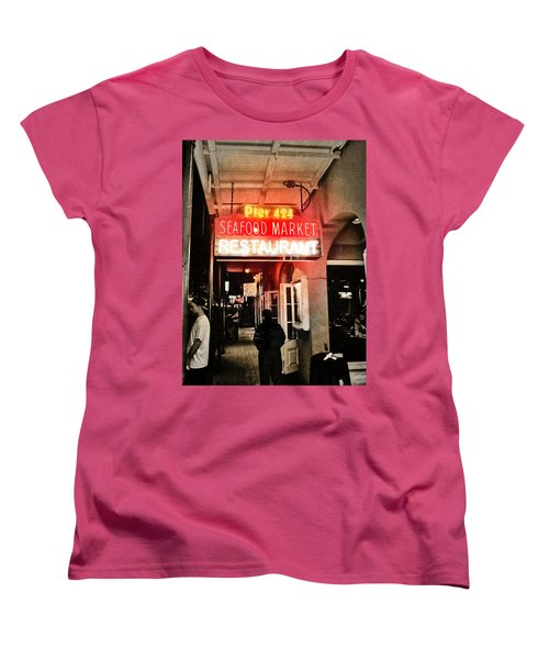 Women's T-Shirt (Standard Cut) featuring the photograph Along Bourbon Street - New Orleans by Glenn McCarthy Art and Photography