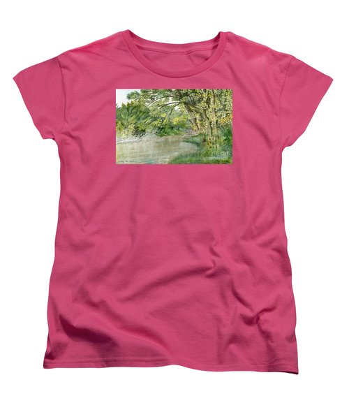 Women's T-Shirt (Standard Cut) featuring the painting Along The Susquehanna by Melly Terpening