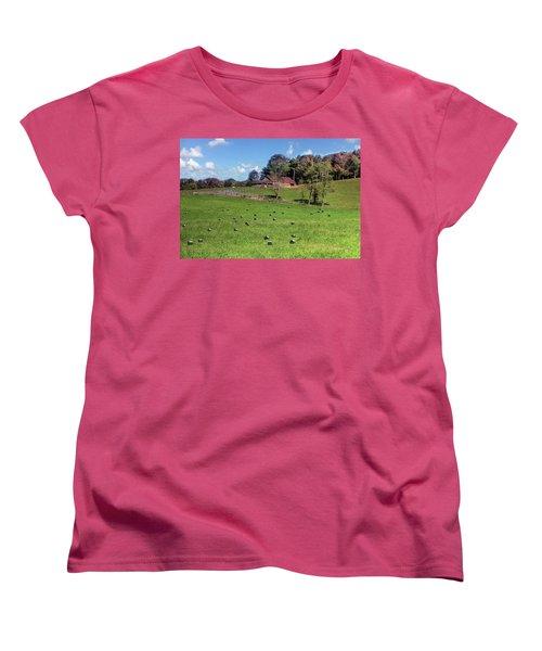 Women's T-Shirt (Standard Cut) featuring the digital art Along The Tracks by Sharon Batdorf