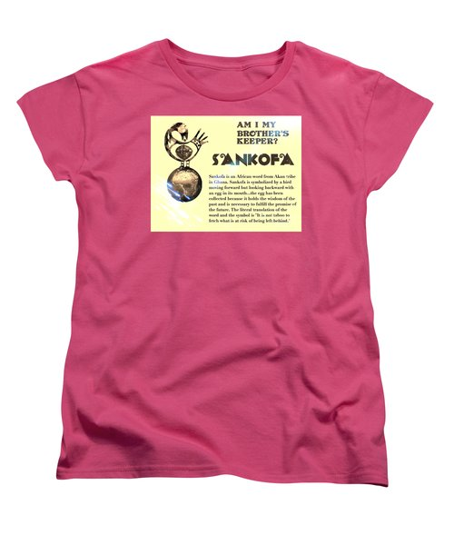 Am I My Brother's Keeper? Sepia Women's T-Shirt (Standard Cut) by Jacqueline Lloyd