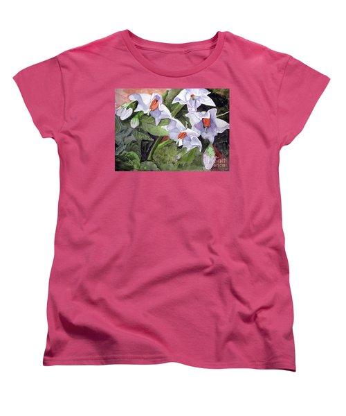 Amanda's Blue Potato Flowers Women's T-Shirt (Standard Cut) by Sandy McIntire