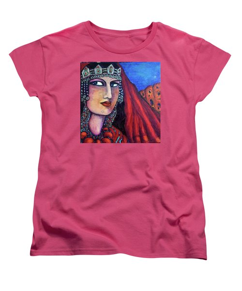Women's T-Shirt (Standard Cut) featuring the painting Amazigh Beauty 1 by Rae Chichilnitsky