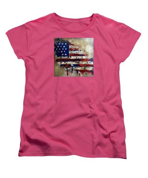 American Flag Women's T-Shirt (Standard Cut) by Tom Fedro - Fidostudio